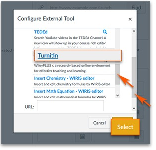 Turnitin highlighted in the list of options