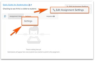 Edit Assignment Setting highligted in the upper right, Settings highlighted in the gray heading bar..